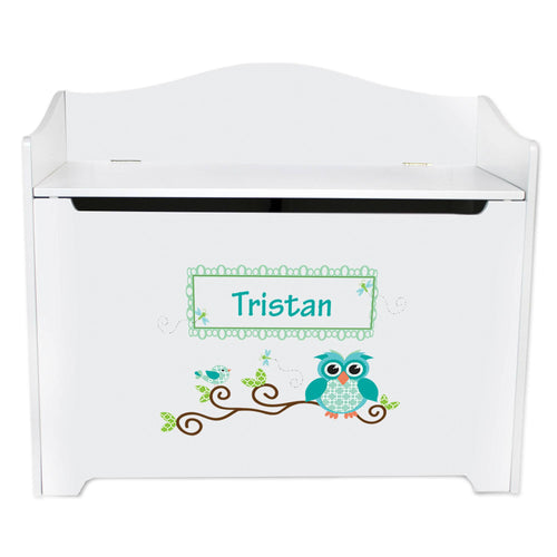 White Wooden Toy Box Bench with Blue Gingham Owl design