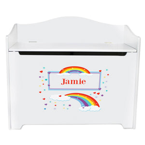 White Wooden Toy Box Bench with Rainbow design