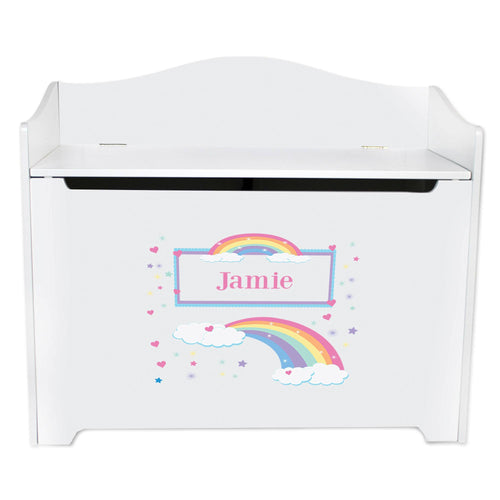 White Wooden Toy Box Bench with Rainbow Pastel design
