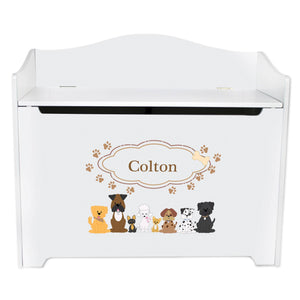 White Wooden Toy Box Bench with Brown Dogs design