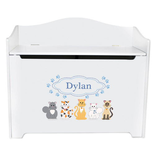 White Wooden Toy Box Bench with Blue Cats design