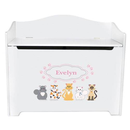 White Wooden Toy Box Bench with Pink Cats design