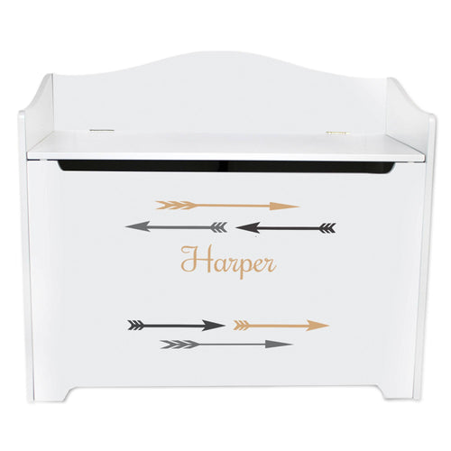 White Wooden Toy Box Bench with Arrows Gold and Grey design