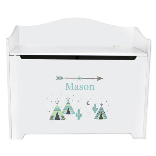 White Wooden Toy Box Bench with Teepee Aqua Mint design
