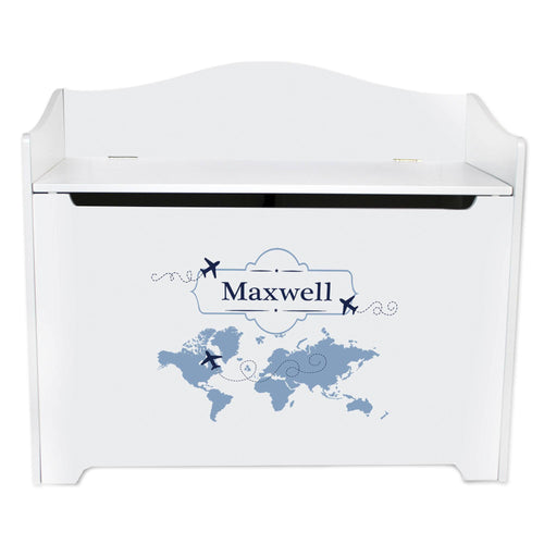 White Wooden Toy Box Bench with World Map Blue design