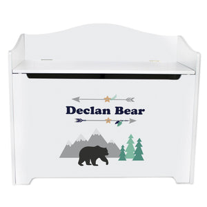 White Wooden Toy Box Bench with Mountain Bear design