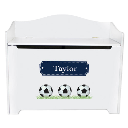 White Wooden Toy Box Bench with Soccer Balls design