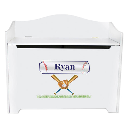 White Wooden Toy Box Bench with Baseball design
