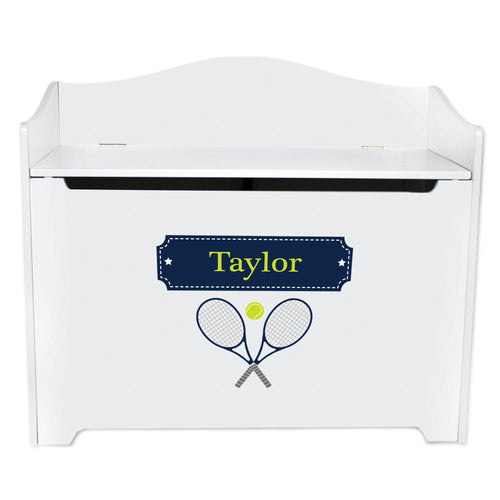 White Wooden Toy Box Bench with Tennis design