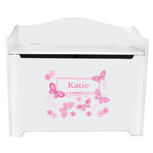 White Wooden Toy Box Bench with Butterflies Pink design