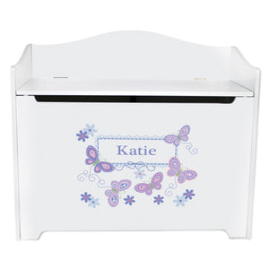 White Wooden Toy Box Bench with Butterflies Lavender design
