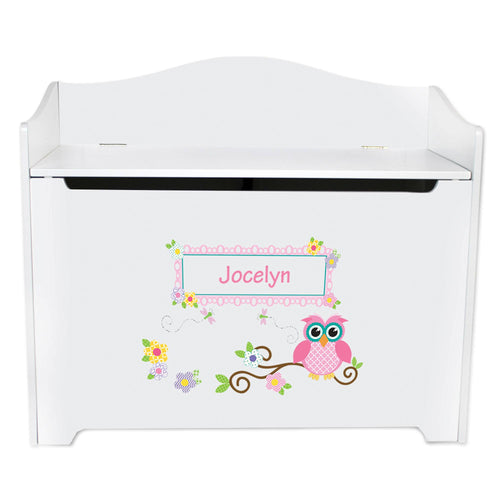 White Wooden Toy Box Bench with Pink Owl design