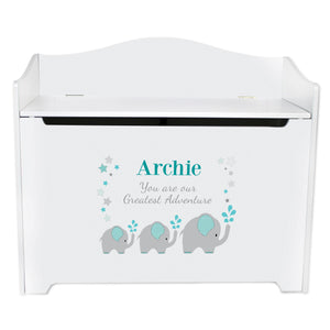 White Toy Box Bench - Grey Teal Elephant