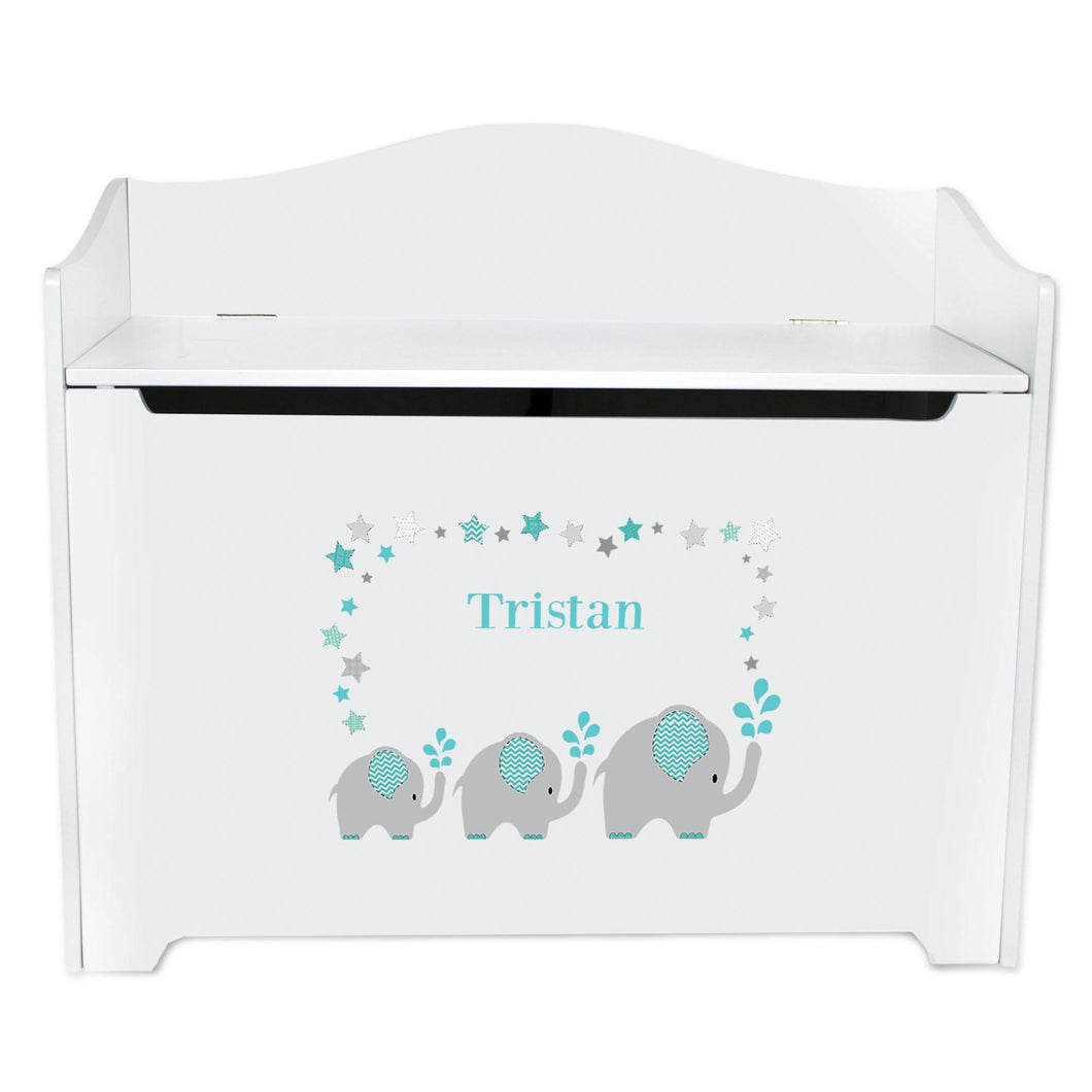 White Wooden Toy Box Bench with Grey and Teal Elephant design