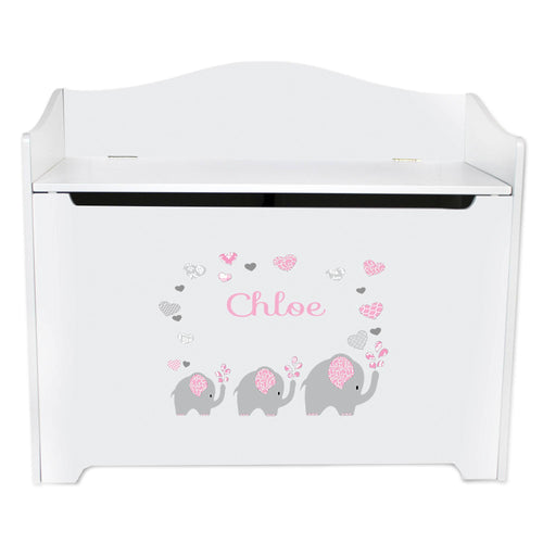 White Wooden Toy Box Bench with Pink Elephant design
