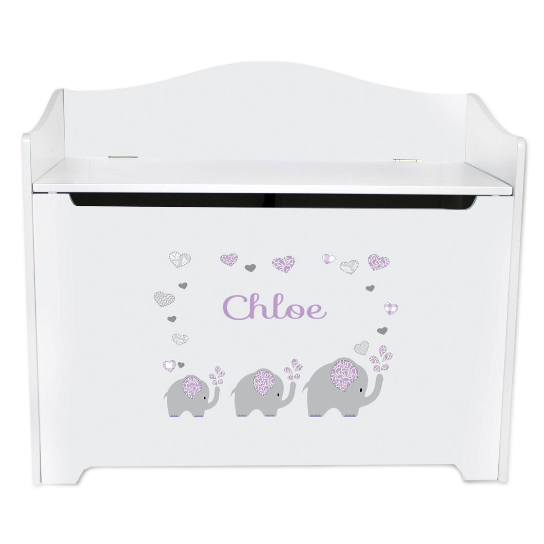 White Wooden Toy Box Bench with Lavender Elephant design