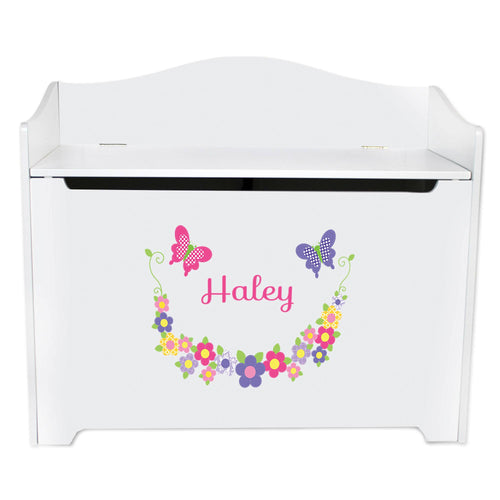 White Wooden Toy Box Bench with Bright Butterflies Garland design