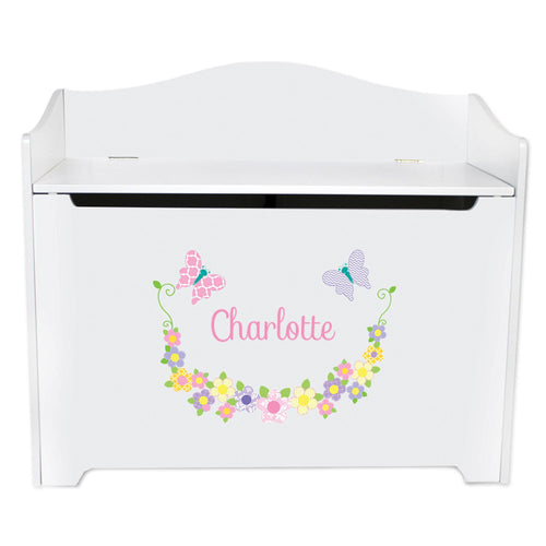 White Wooden Toy Box Bench with Pastel Butterflies design