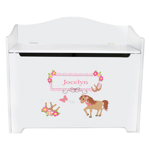 White Wooden Toy Box Bench with Ponies Prancing design