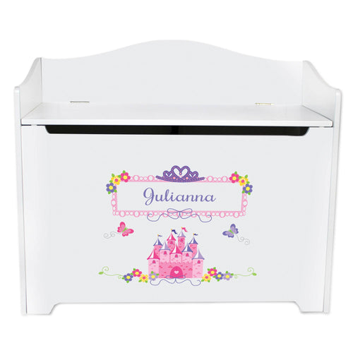 White Wooden Toy Box Bench with Princess Castle design