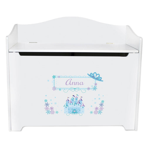 White Wooden Toy Box Bench with Ice Princess design