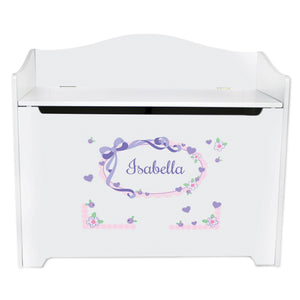 Personalized Lavender Bow Ribbon Toy Box Bench