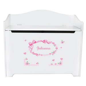 Personalized Pink Bow Ribbon Toy Box Bench