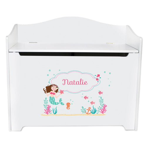 White Wooden Toy Box Bench with Brunette Mermaid Princess design