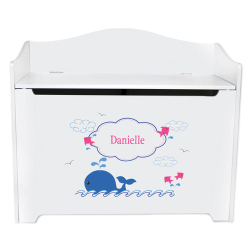 White Wooden Toy Box Bench with Pink Whale design