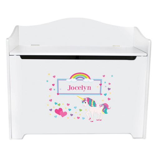 Girls Personalized Unicorn Toy Box Chest