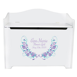 White Toy Box Bench - Lavender Floral Garland
