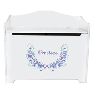 White Wooden Toy Box Bench with Lavender Floral Garland design