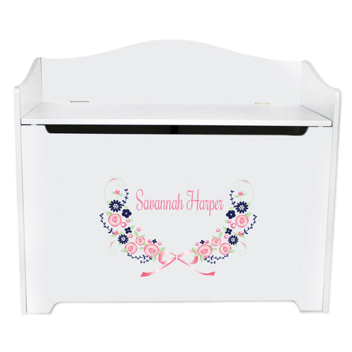 White Wooden Toy Box Bench with Navy Pink Floral Garland design