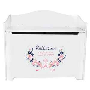 White Toy Box Bench - Navy Pink Floral Cross