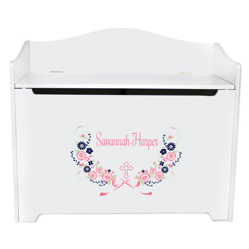 White Wooden Toy Box Bench with Hc Navy Pink Floral Garland design