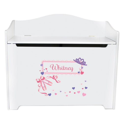 White Wooden Toy Box Bench with Ballet Princess design