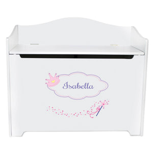 White Wooden Toy Box Bench with Fairy Princess design