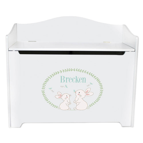 White Wooden Toy Box Bench with Classic Bunny design