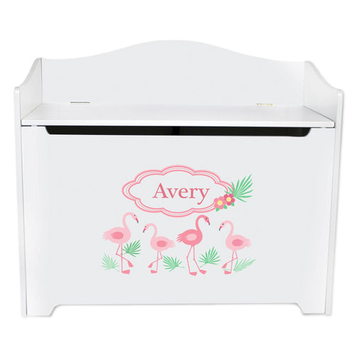 White Wooden Toy Box Bench with Palm Flamingo design