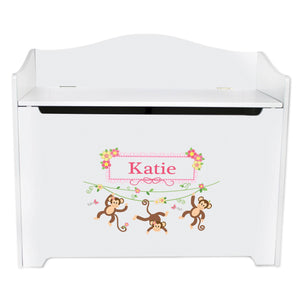 White Wooden Toy Box Bench with Monkey Girl design