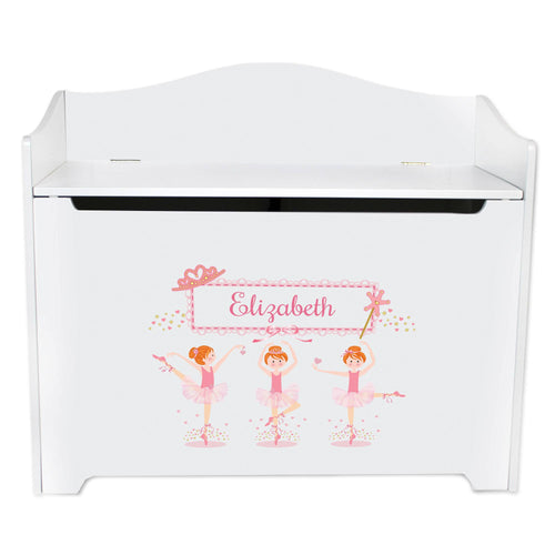 White Wooden Toy Box Bench with Ballerina Red Hair design