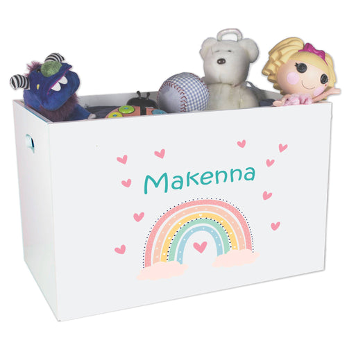 Personalized Boho Rainbow Open Top Toy Box