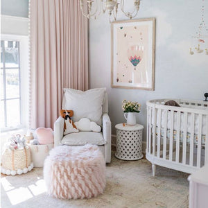 Jillian Harris Nursery - Baby Nursery for Annie, Nursery Decor inspiration, wallpaper and baskets