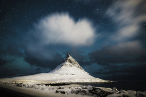 Kirkjufell surrounded by clouds