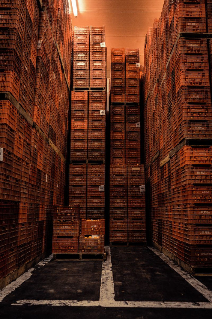 Tower of boxes full of oranges