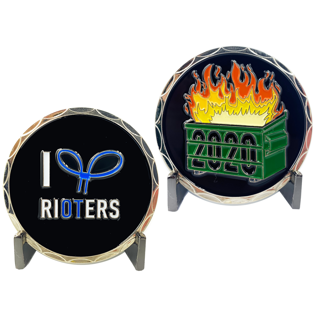 DL2-04 I Love Rioters 2020 Dumpster Fire Handcuff Zip Ties Police Thin Blue Line Overtime Challenge Coin