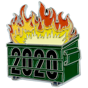 DL2-09 Official 2020 Dumpster Fire Collectible Pin with dual pin posts Pandemic, Killer Wasps, Riots, Police, Rioters
