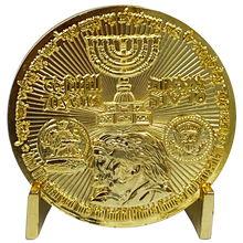 MM-013 Rare 24KT Gold Plated Trump Israel Jerusalem MAGA Temple Challenge Coin 70 years Embassy