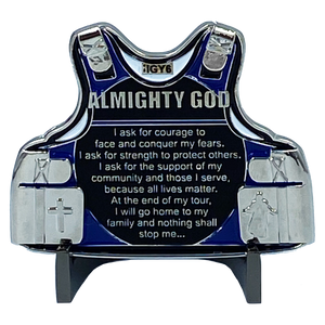 DL7-13 Police Officer's Prayer God Almighty Challenge Coin Thin Blue Line Tactical Body Armor