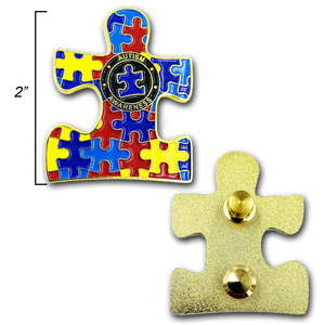 Autism Puzzle Piece Pin with dual pin posts and deluxe pin clasps (2 inch)